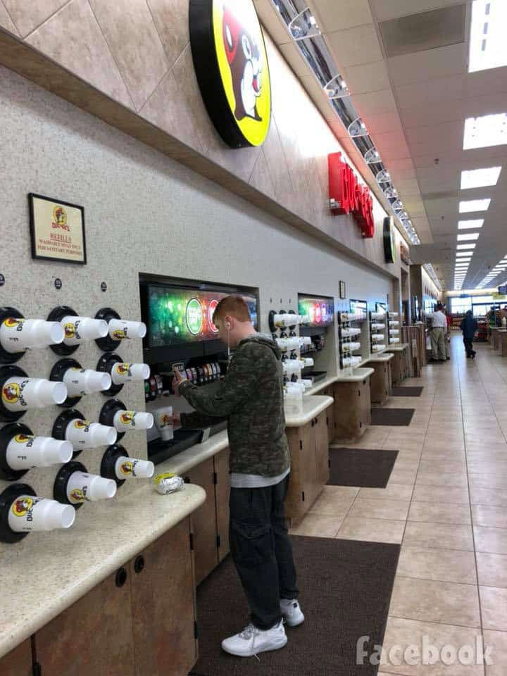 Jacob Toborowsky at Buc-ees in Texas recovering from gunshot to his face