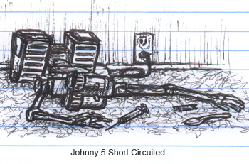 Johnny 5 From Short Circuit in the apartment of El DeBarge