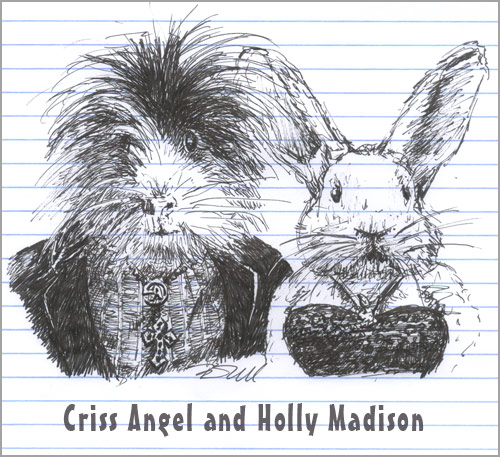 Criss Angel as a guinea pig and Holly Madison as a bunny