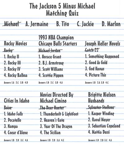 Starcasm Jackson 5 Minus Michael Jackson Matching Quiz