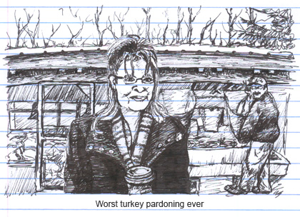 Sarah Palin does an interview oblivious to a turkey slaughter behind her