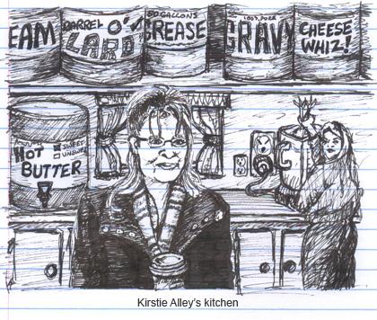 Sarah Palin interviews in the kitchen of Kirstie Alley