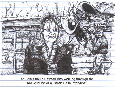 Batman gets ground up behind Sarah Palin