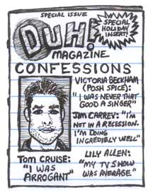 Duh Magazine Confessions Tom Cruise Victoria Beckham Jim Carrey and Lily Allen