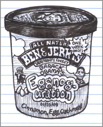Barack Obama inspired ice cream flavor Eggnoguration
