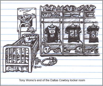 The Tony Romo end of the Dallas Cowboy locker room