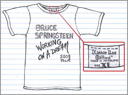 Bruce Springsteen tour tshirt made in the Honduras sweatshops of Kathie Lee Gifford