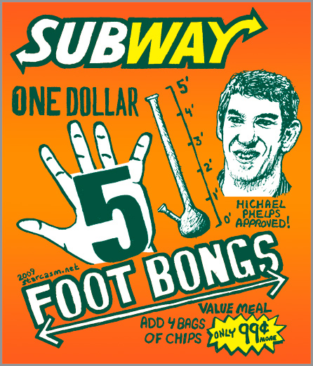 Michael Phelps one dollar five foot bongs from Subway