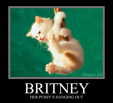 Britney Spears motivational poster inspired by her saying My pussy's hanging out
