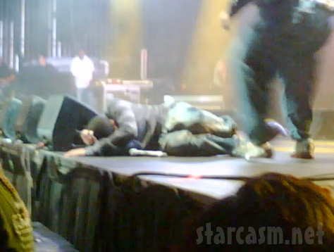 Rapper Drake takes a fall while performing in New Jersey