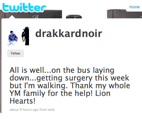 Rapper Drake tweets about surgery on twitter
