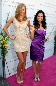 Miranda Kerr and Melissa Rycroft at the launch of the Victoria's Secret perfume Heavenly Enchanted