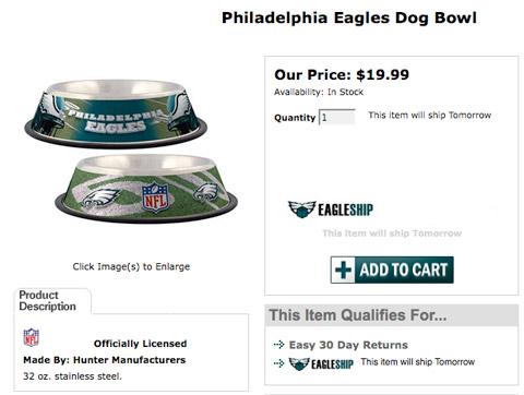 Michael Vick Philadelphia Eagles dog dishes