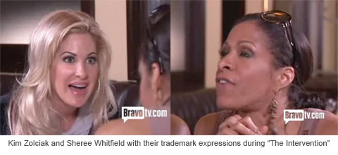 """Kim Zolciak and Sheree Whitfield with their trademark expressions during """"The Intervention"""""""