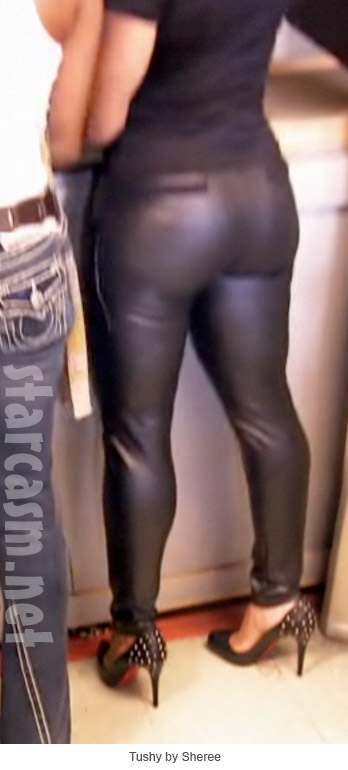 Sheree Whitfield at the firing range in some MIGHTY TIGHTY leather pants