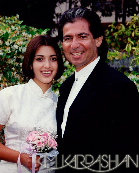 Kim Kardashian and father Robert Kardashian when she was 14 years old