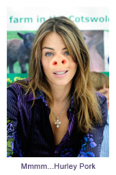 Elizabeth Hurley is at one with her pork