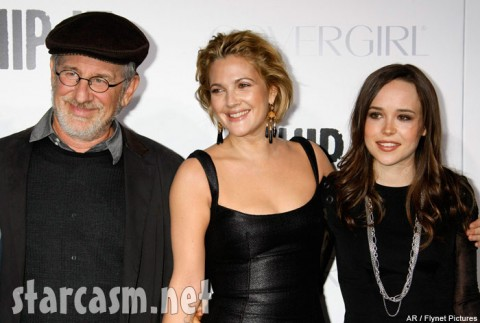 Steven Spielberg enjoys the moment with Drew Barrymore and Ellen Page