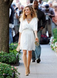 Sarah Jessica Parker having a good time on the set of Sex and the City 2