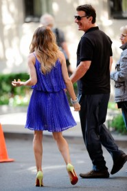 Chris Noth and frilly filly Sarah Jessica Parker on the set of Sex and the City 2