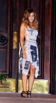 Sarah Jessica Parker in a Christian Dior inspired newspaper dress on the set of Sex and the City 2