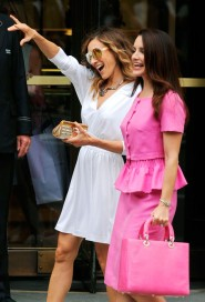 Sarah Jessica Parker and Kristin Davis pose for pictures on the set of Sex and the City 2