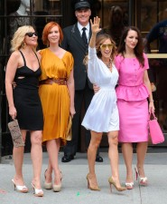 Samantha, Miranda, Carrie and Charlotte pose for pictures ont he set of Sex and the City 2