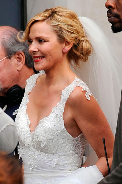 Actress Kim Cattrall dons a wedding gown on the set of Sex and the City 2. Is Samantha getting married?