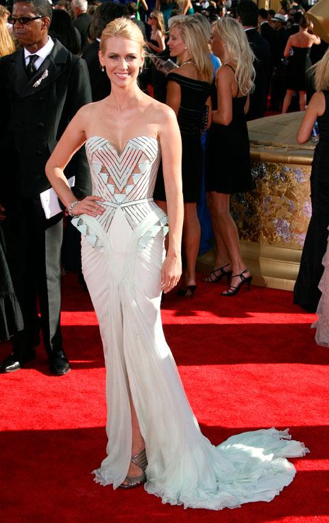 January Jones on the red carpet at the 2009 Primetime Emmy Awards