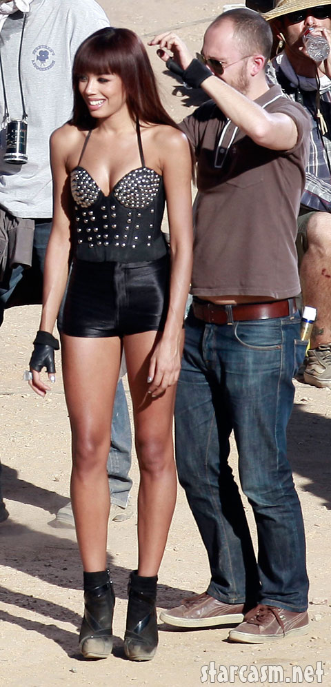 Sugababes newbie Jade Ewen wears a tight leather outfit for a video shoot in the desert