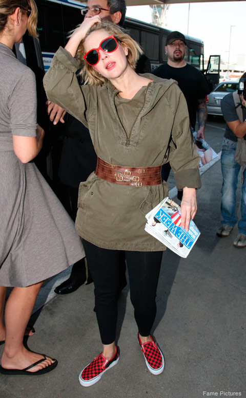 Drew Barrymore looking a bit hungover after the Whip It premiere in Hollywood