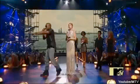 Kanye West steals the microphone from Taylor Swift during her acceptance speech at the MTV Video Music Awards