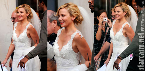 Samantha Jones looks radiant in a wedding dress on the set of Sex and the City 2