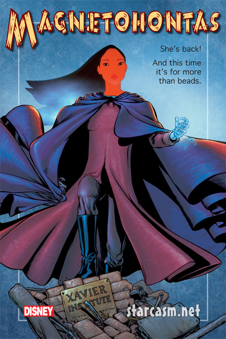 Magnetohontas is one of the crossover movie titles in the works from the recently combined Disney and Marvel studios