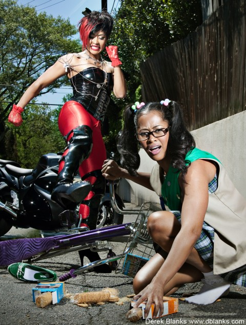Lisa Wu Hartwell as a bully and a girlscout from her Derek Blanks Alter Ego photo shoot