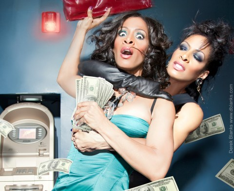 Sheree Whitfield as a mugger and a victim from her Derek Blanks Alter Ego photo shoot