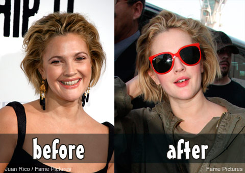 Drew Barrymore before and after the Whip It premiere in Hollywood
