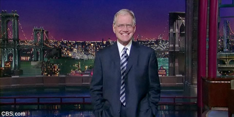 David Letterman addresses extortion and sex scandal during his monologue October 5
