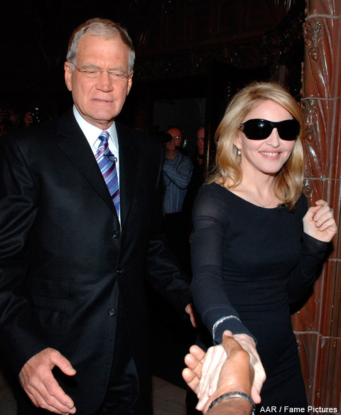 Madonna and David Letterman go out for pizza during the taping of The Late Show on September 30, 2009