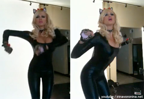 Playboy Playmate Irina Voronina dances around in a cat suit for no reason