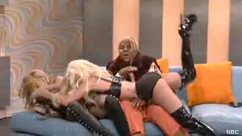 Madonna and Lady Gaga wrestle in lingerie on Saturday Night Live