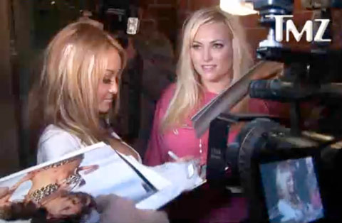 Tila Tequila and Meghan McCain outside of the Mr. Chow restaurant