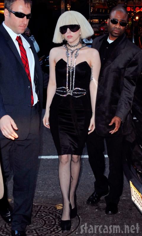 Lady Gaga in a textured black dress at MTV Studios November 3 2009