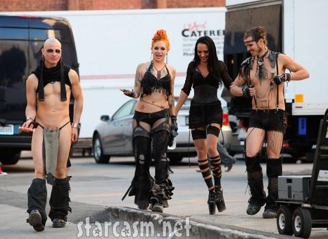 Adam Lambert films a flamboyant video in downtown Los Angeles