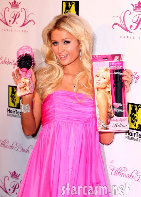 Paris Hilton and her new brush and curling iron