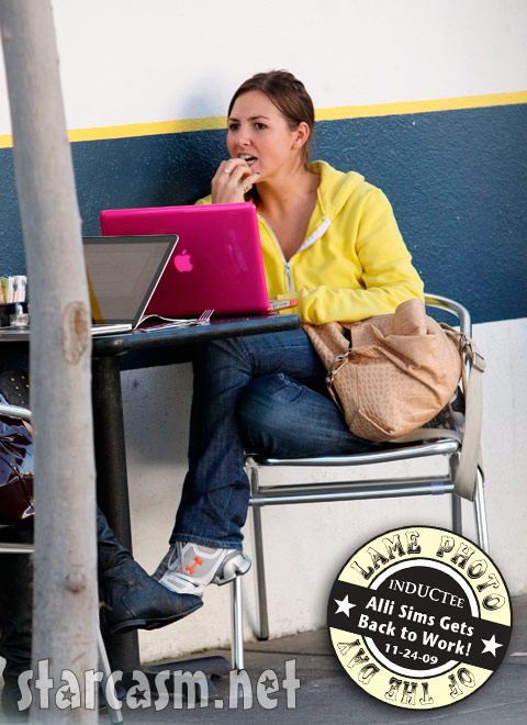 Alli Sims breathes near a laptop computer in Los Angeles