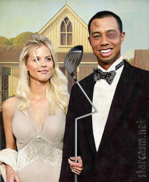 Tiger Woods and Elin Nordegren in American Gothic