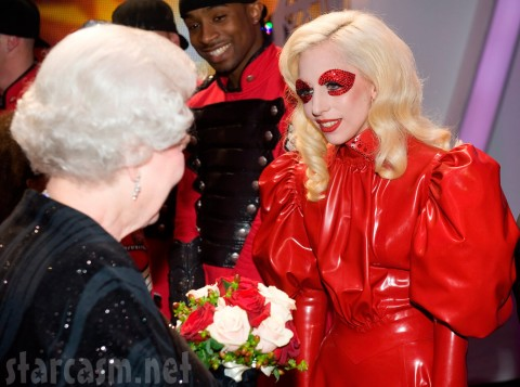 Queen Elizabeth II and Lady Gaga in a red latex outfit