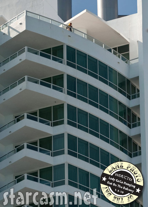 We're told that's Lady Gaga ona hotel balcony in Miami