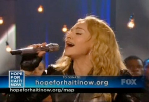 Madonna sings Like A Prayer during the Haiti relief telethon